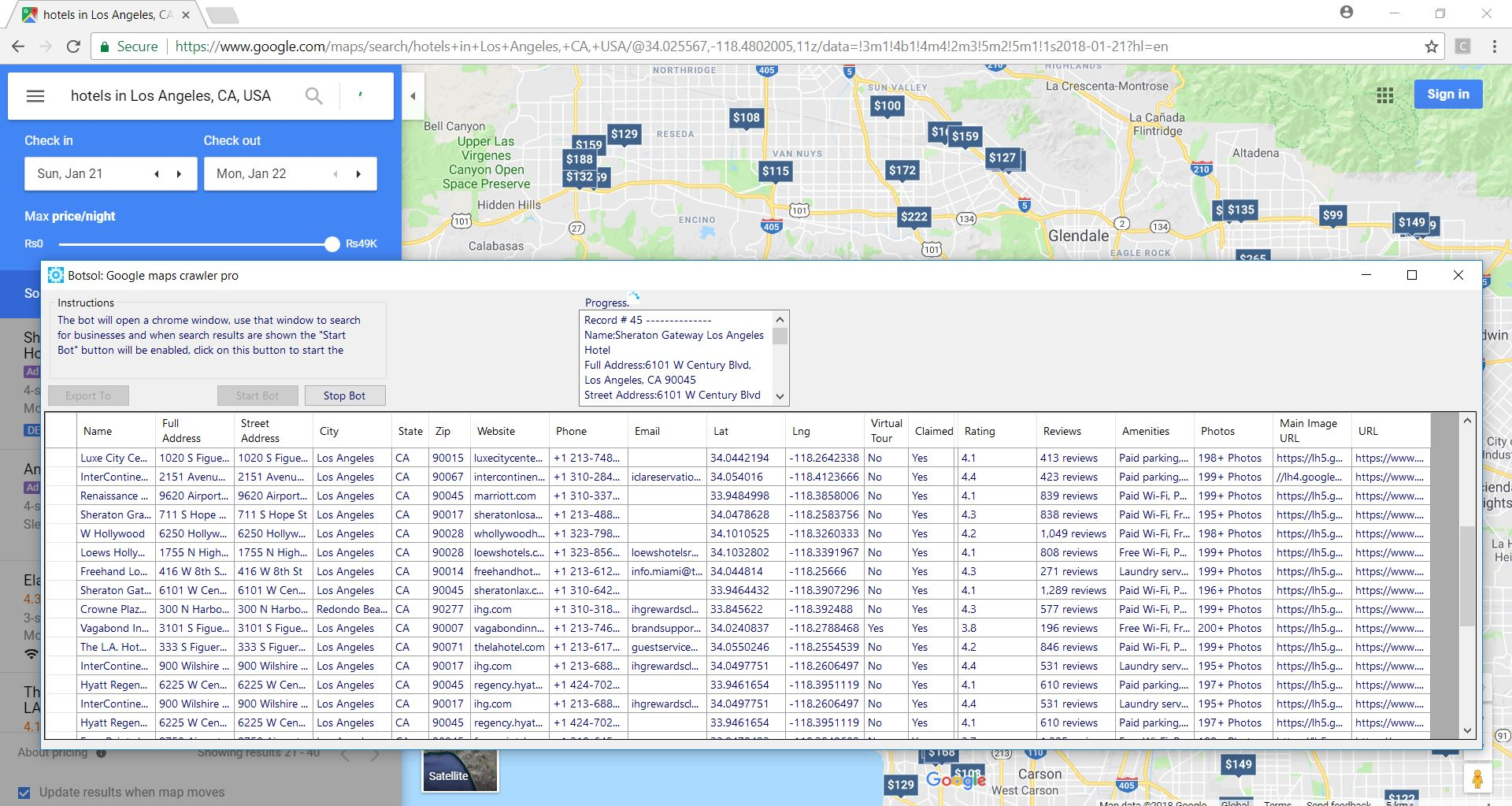 google maps contact infor in csv/excel
